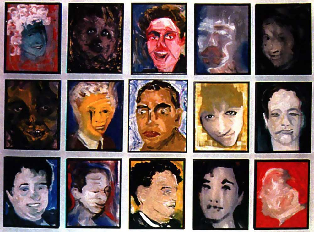 David Bowie paintings - DHead series - 1995-96