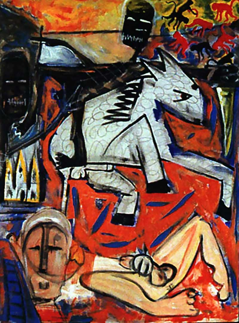 David Bowie paintings - The rape of Bigarschol - 1996