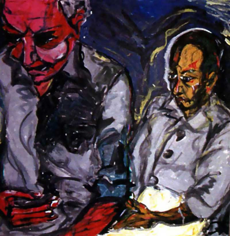 David Bowie paintings - Turkish Father and Son - 1978
