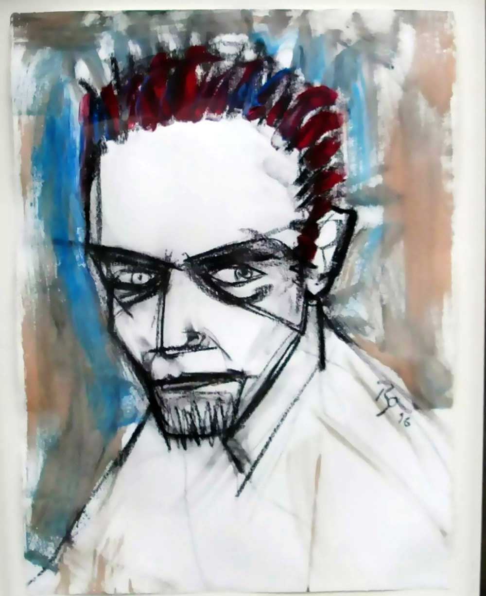 David Bowie paintings - Self portrait - 1996