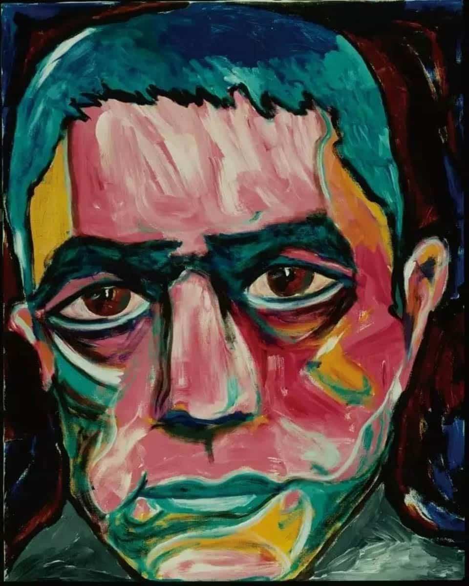 David Bowie Paintings - portrait of Yukio Mishima